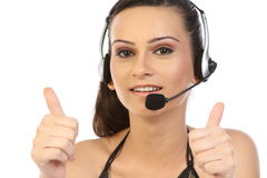Woman with headset in challenge expression Royalty Free Stock Images
