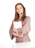 Woman with a headset with clipboard Royalty Free Stock Photo