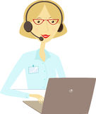 Woman with headset in front of laptop Stock Images