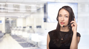 Woman with headset hotline online support Royalty Free Stock Images