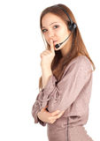 Woman with a headset keeping silence Royalty Free Stock Photography
