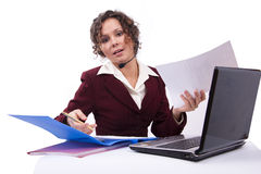Woman with headset and laptop Royalty Free Stock Photo