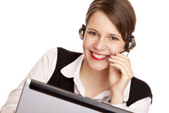 Woman with headset laughs happy and makes a call Stock Images