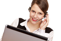 Woman with headset laughs happy and makes a call Stock Photos