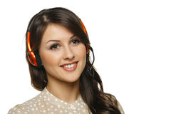 Woman in headset looking out of frame Stock Photography