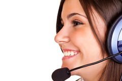 Woman  with headset and microphone Stock Photography
