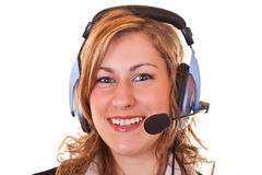 Woman with headset and microphone Royalty Free Stock Images