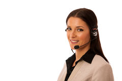 Woman with headset and microphone working in call center for hel Royalty Free Stock Photography