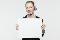 Woman with Headset and Sign Stock Image