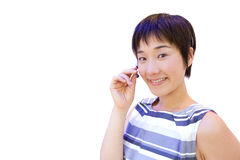Woman with headset, smiling, portrait, cut out stock photos