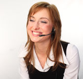 Woman on a Headset Talking. Business woman on a headset talking Stock Images