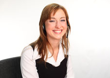 Woman on a Headset Talking. Business woman on a headset talking Stock Photos