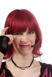 Woman with headset uncertain Royalty Free Stock Photo