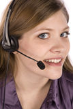 Woman with headset up close Stock Photography