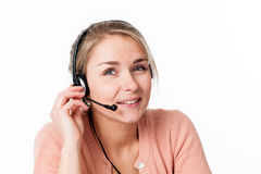 Woman with headset for welcoming business call center Royalty Free Stock Photo