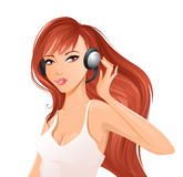 Woman with headsets. Royalty Free Stock Photos