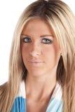 Woman headshot blue Royalty Free Stock Images
