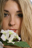 Woman headshot flower. Image of a womans face -  headshot flower Royalty Free Stock Photos