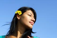 Woman Headshot Isolated On Blu Stock Images