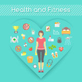 Woman Health and Fitness Infographics Royalty Free Stock Images