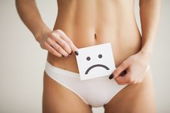 Woman Health Problem. Closeup Of Female With Fit Slim Body In Pa royalty free stock photos