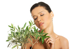 Woman with health skin and with olive tree Royalty Free Stock Image