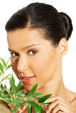 Woman with health skin and with olive tree Stock Photo