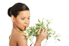Woman with health skin and with olive tree Royalty Free Stock Photo
