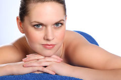 Woman in health spa for beauty pamper treatment Royalty Free Stock Images