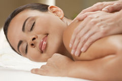 Woman At Health Spa Having Relaxing Massage Stock Images
