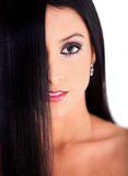 Woman with healthy black hair Royalty Free Stock Images