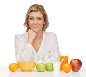 Woman with healthy breakfast Stock Images