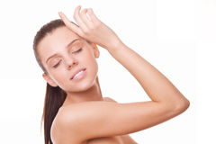 Woman with healthy clean skin and closed eyes Royalty Free Stock Photos