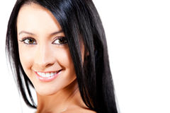 Woman with healthy dark hair Royalty Free Stock Photo