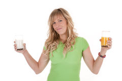 Woman healthy drinks smile Royalty Free Stock Images