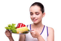 The woman in healthy eating concept Royalty Free Stock Image
