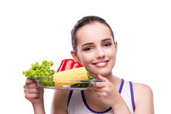 The woman in healthy eating concept Royalty Free Stock Photography