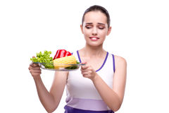 The woman in healthy eating concept Stock Photos