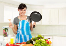 Woman with healthy food Stock Photos