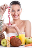 Woman with healthy food and measuring tape Royalty Free Stock Images