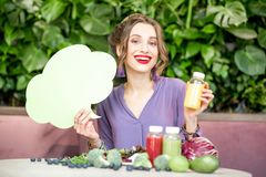 Woman with healthy food and thoughtful bubble stock images