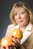 Woman healthy grapefrutits Royalty Free Stock Photos