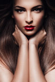 Woman with healthy hair and red lips Stock Photography