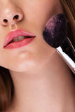 Woman with healthy skin and brush Royalty Free Stock Images