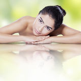 Woman with healthy skin and water reflection Royalty Free Stock Photo