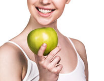 Woman with healthy teeth and green apple Royalty Free Stock Image