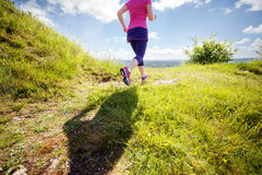 Woman healthy trail run Royalty Free Stock Images