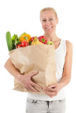 Woman with healthy vegetables and fruit Stock Photography