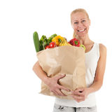 Woman with healthy vegetables and fruit Royalty Free Stock Photo