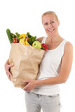 Woman with healthy vegetables and fruit Stock Photo